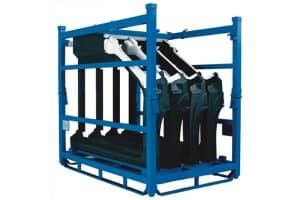 Custom shipping rack loaded with four products