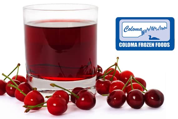 cherries with glass of juice
