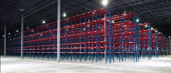 warehouse with roll-form rack