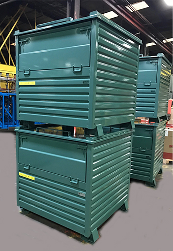 Corrugated stacking containers with lids