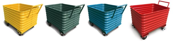 4 colors of scrap hoppers on casters