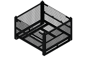 black rigid wire container with half drop gates and floor runners