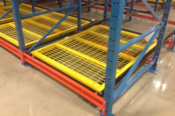 close up of wire pushback cart